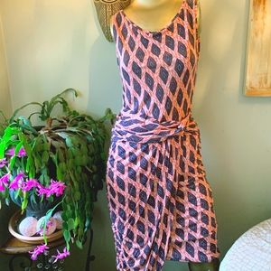 Rachel Roy ruched Orange Diamond Print Dress